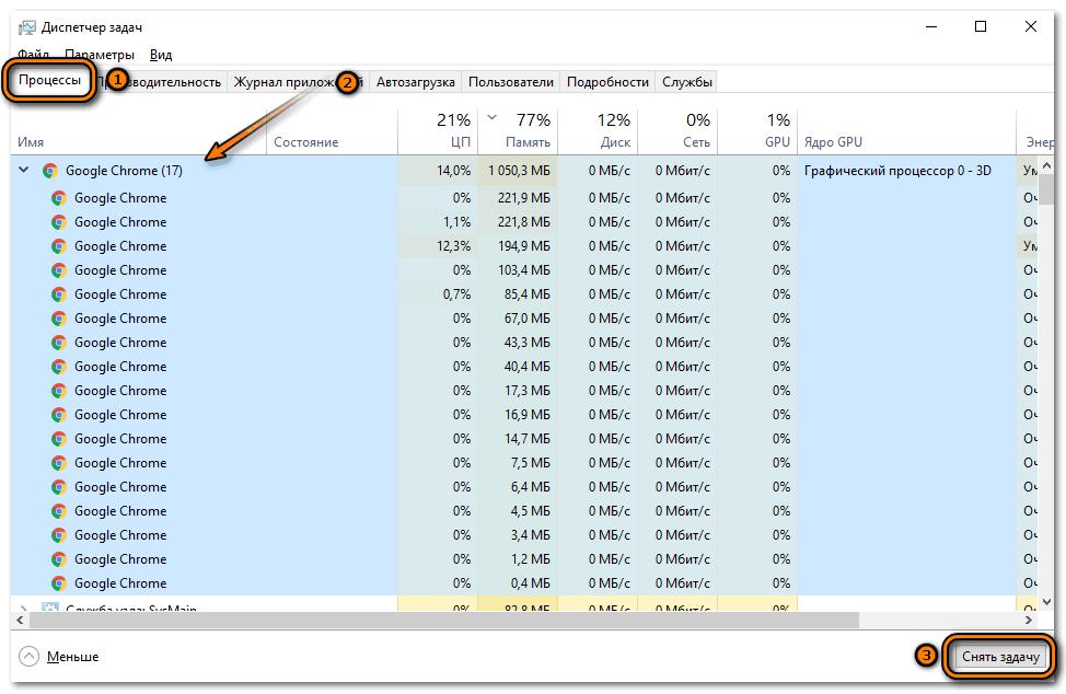 Завершение процессов Google Chrome
