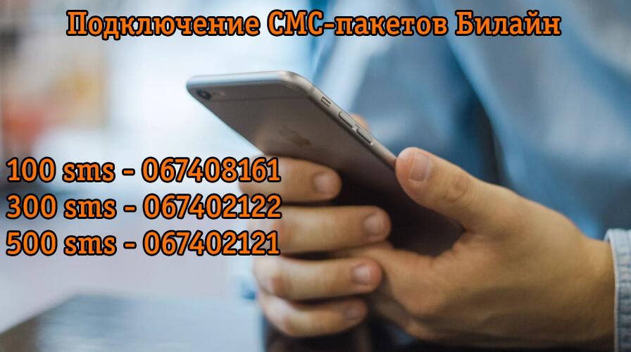 подключение SMS пакетов на Билайне