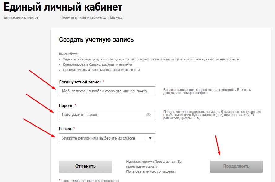 процесс регистрации личного кабинета