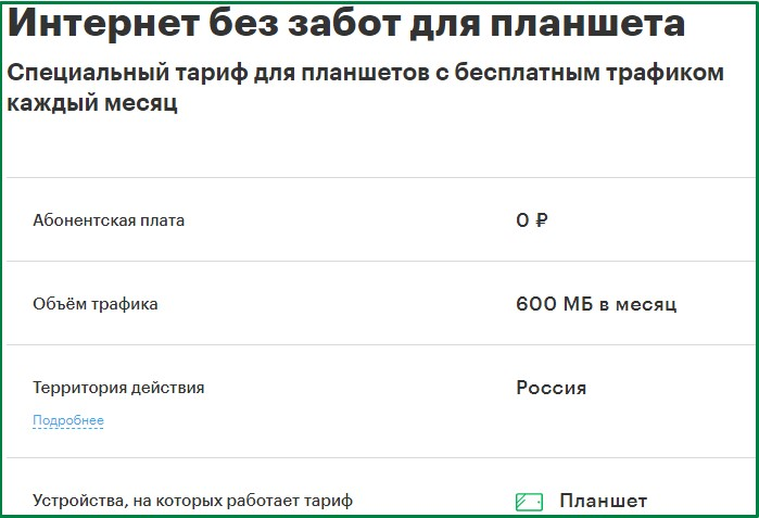 краснодарский край - тариф мегафон для планшета
