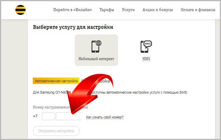 заказ автоматических настреок интернета билайн на сайте