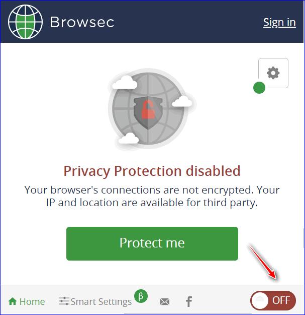 Передвиньте переключатель на On в Yandex Browser
