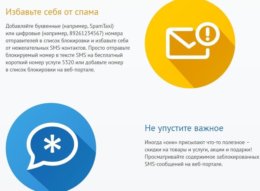 описание смс фильтра от мегафон