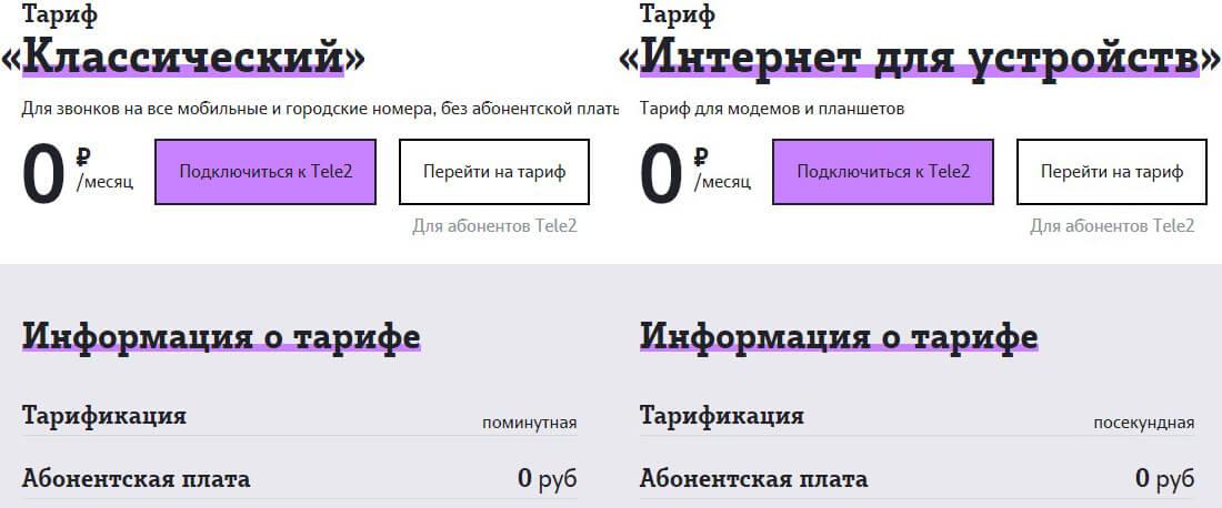 тарифы теле2 кемеровская область без абон платы