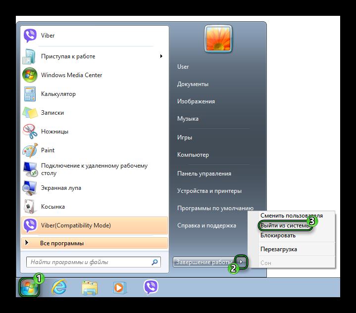 Опция Выйти из системы в Windows 7