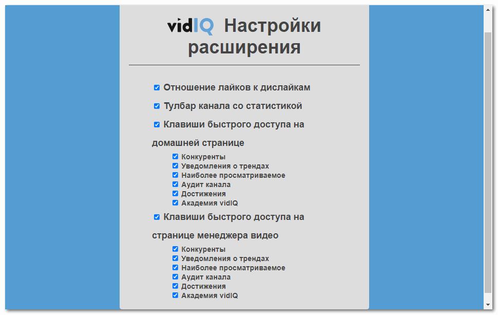 Настройки vidIQ