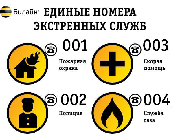 номера телефонов экстренных служб россии билайн