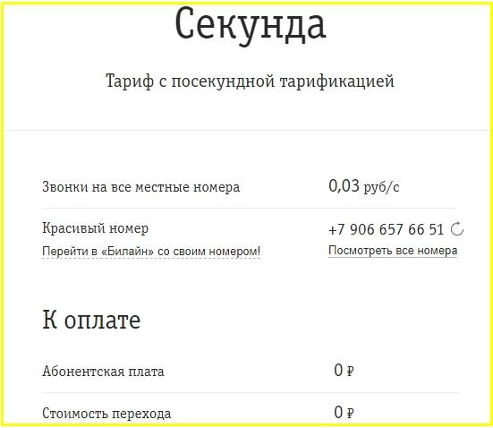 секунда в татарстане от билайн