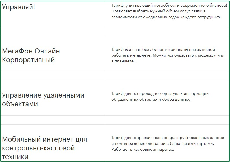 мегафон для кирова - бизнес тарифы