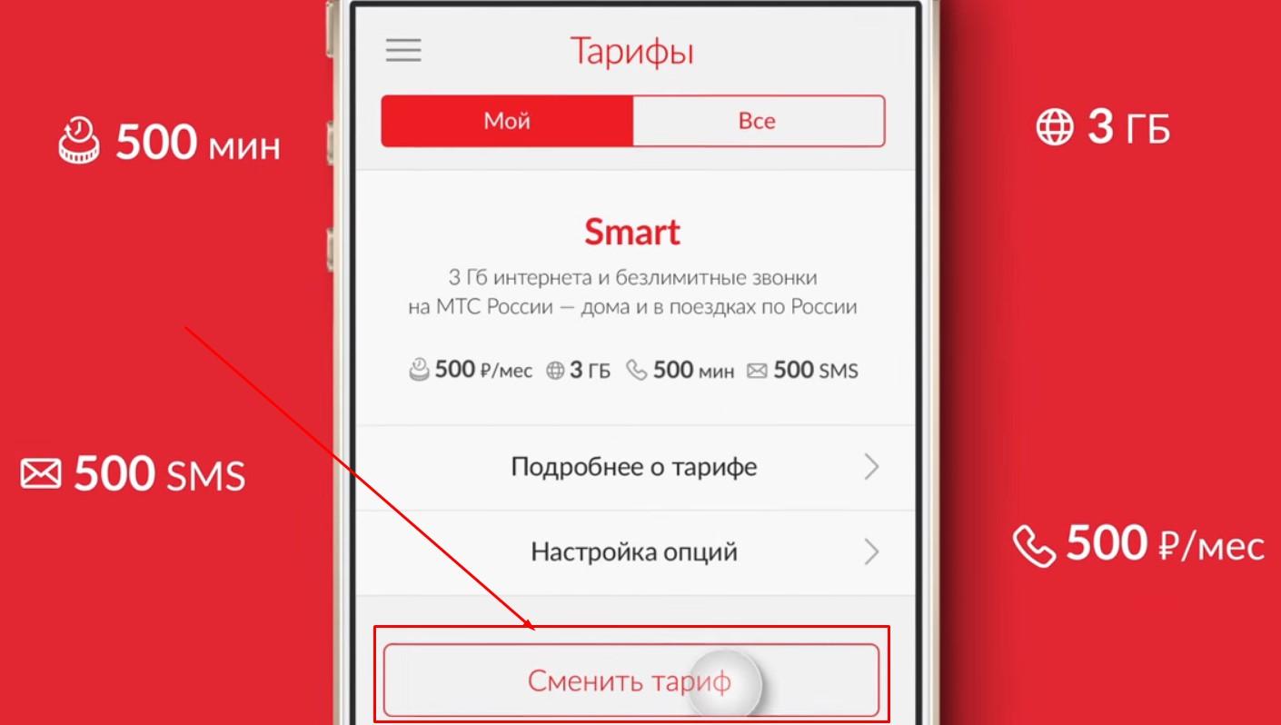 поменять тариф на мтс приложение