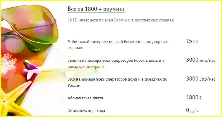 все за 1800 + роуминг от билайн в татарстане