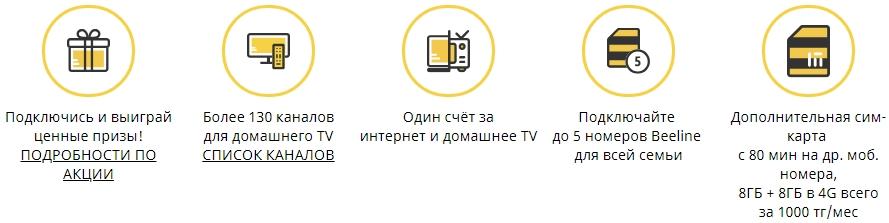 Интернет + TV + Мобильная связь от билайн в казахстане