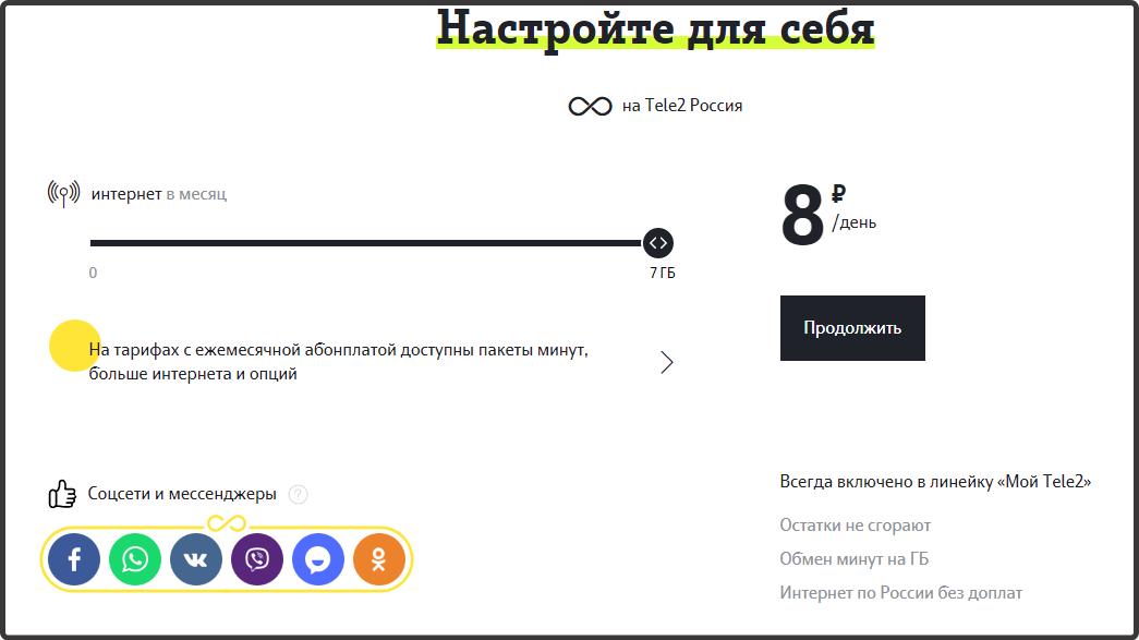 Тариф Теле2 из линейки Мой онлайн, цены для Орла и области на 2018 год