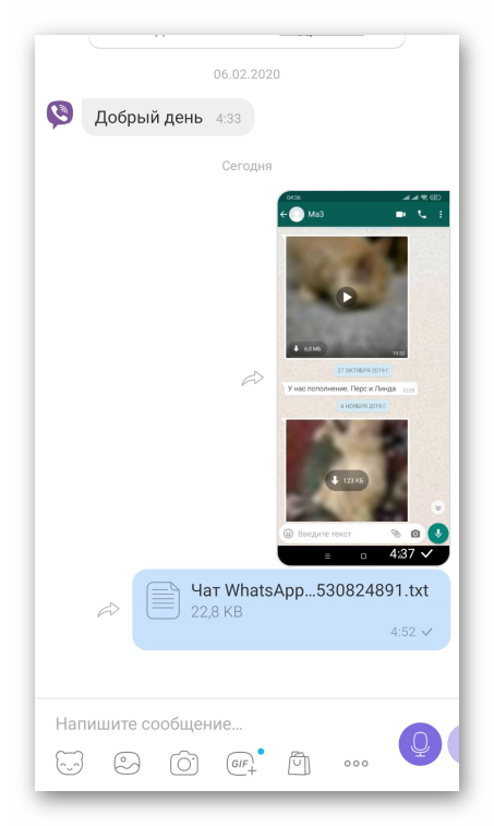 Вид экспортированного WhatsApp-чата в Viber