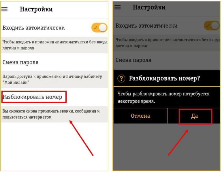разблокировка номера билайн в мобильном приложении