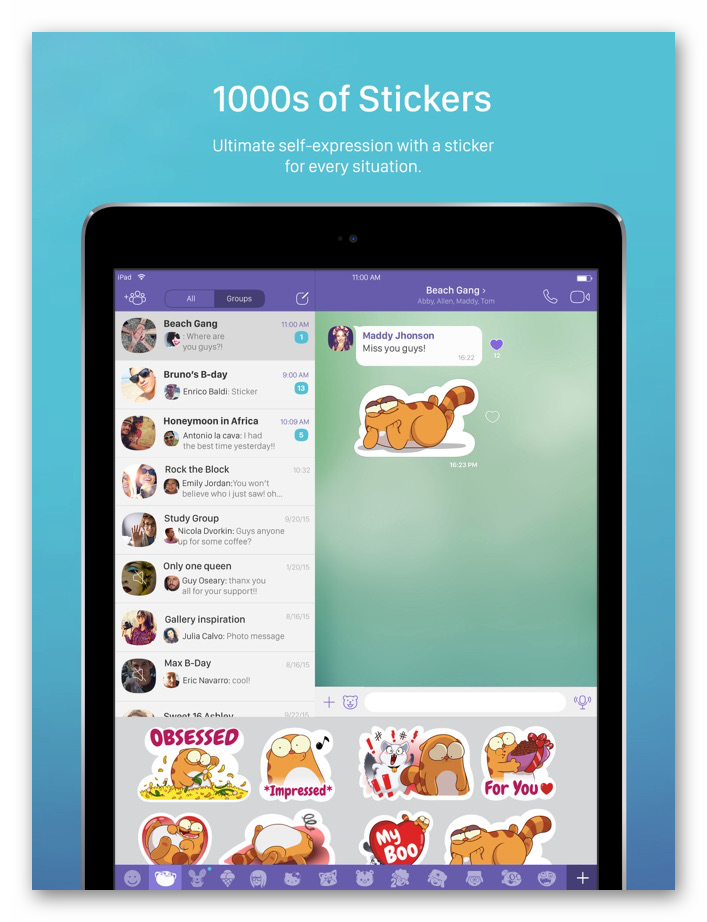 Картинка Библиотека стикеров в Viber для iPad