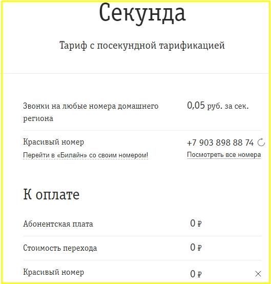 билайн тариф секунда для кемеровской области