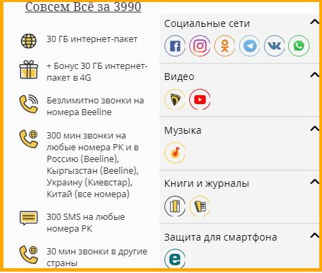 тарифы билайн для казахстана - совсем все за 3990