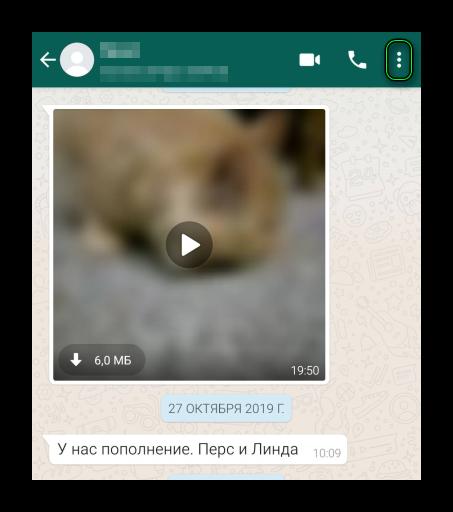 Иконка вызова меню в чате WhatsApp