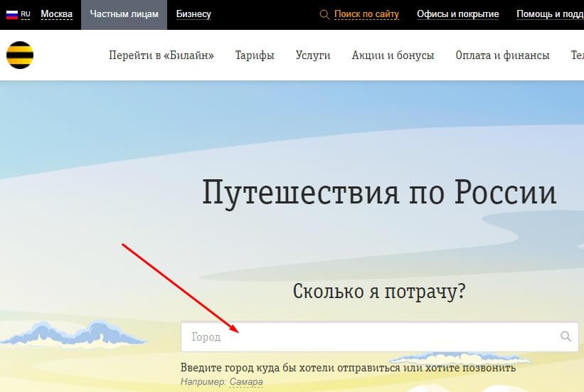 стоимость интернета в путешествии по россии билайн