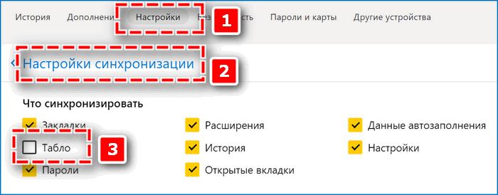 Отключить синхронизацию табло